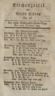 Kirchenzettel der Stadt Elbing, Nr. 56, 25 Dezember 1805
