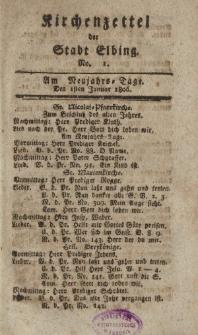 Kirchenzettel der Stadt Elbing, Nr. 1, 1 Januar 1806