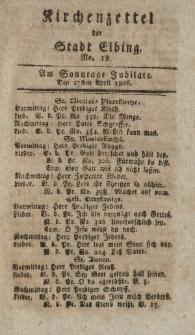 Kirchenzettel der Stadt Elbing, Nr. 19, 27 April 1806