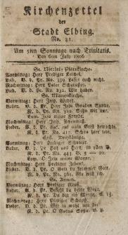 Kirchenzettel der Stadt Elbing, Nr. 31, 6 Juli 1806