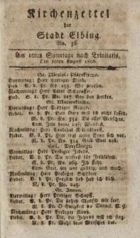 Kirchenzettel der Stadt Elbing, Nr. 36, 10 August 1806
