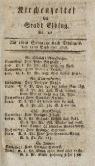 Kirchenzettel der Stadt Elbing, Nr. 42, 21 September 1806