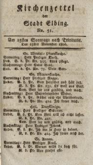 Kirchenzettel der Stadt Elbing, Nr. 51, 23 November 1806