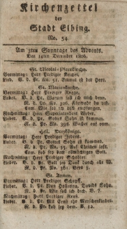 Kirchenzettel der Stadt Elbing, Nr. 54, 14 Dezember 1806