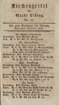 Kirchenzettel der Stadt Elbing, Nr. 55, 21 Dezember 1806