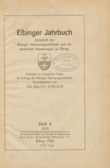 Elbinger Jahrbuch, 1924, H. 4