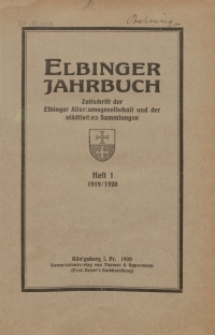 Elbinger Jahrbuch, 1919/20, H. 1