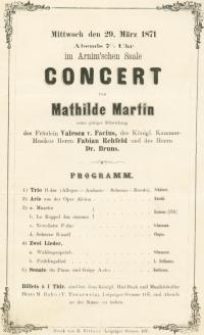 Pozycja nr 116 z kolekcji Henryka Nitschmanna : Concert von Mathilde Martin : Programm