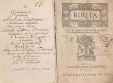 Biblia, Qiud in hac editione praestitum sit, vide in ea quam operi praeposuimus, ad lectorem epistola