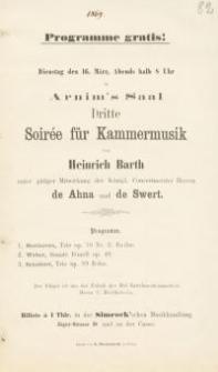 Pozycja nr 82 z kolekcji Henryka Nitschmanna : Arnim's Saal Dritte Soiree für Kammermusik von Heinrich Barth
