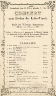 Pozycja nr 167 z kolekcji Henryka Nitschmanna : Concert zum Besten des Lette-Verein im Saale des Wilhelms-Gymnasium...