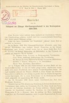 Bericht über die Tätigkeit der Elbinger Altertumsgesellschaft in den Vereinsjahren 1894/1899