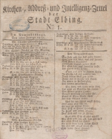 Kirchenzettel der Stadt Elbing, Nr. 1, 1 Januar 1827