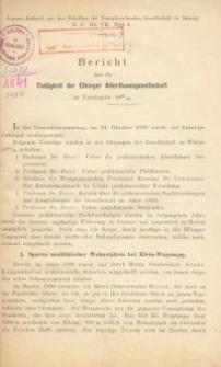 Bericht über die Tätigkeit der Elbinger Altertumsgesellschaft in den Vereinsjahren 1899/1900