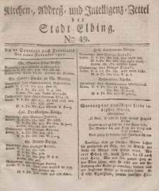 Kirchenzettel der Stadt Elbing, Nr. 49, 11 November 1827