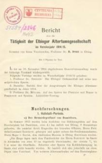 Bericht über die Tätigkeit der Elbinger Altertumsgesellschaft in den Vereinsjahr 1914/1915