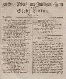 Kirchenzettel der Stadt Elbing, Nr. 27, 15 Juni 1828