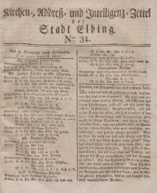 Kirchenzettel der Stadt Elbing, Nr. 34, 3 August 1828