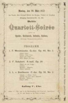 Pozycja nr 108 z kolekcji Henryka Nitschmanna : Dritte Quartett-Soiree