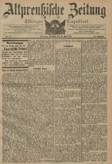 Altpreussische Zeitung, Nr. 121 Dienstag 27 Mai 1902, 54. Jahrgang