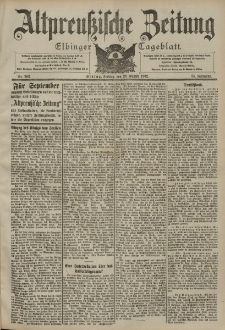 Altpreussische Zeitung, Nr. 202 Freitag 29 August 1902, 54. Jahrgang