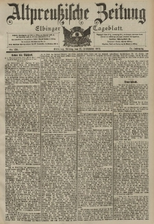 Altpreussische Zeitung, Nr. 226 Freitag 26 September 1902, 54. Jahrgang
