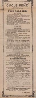 Pozycja nr 172 z kolekcji Henryka Nitschmanna : Circus Renz. : Programm & Aschenbrödel