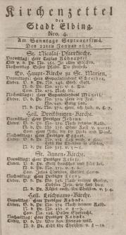 Kirchenzettel der Stadt Elbing, Nr. 4, 22 Januar 1826