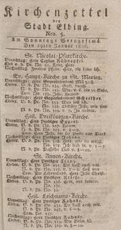 Kirchenzettel der Stadt Elbing, Nr. 5, 29 Januar 1826