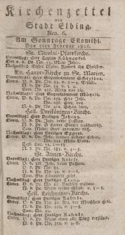 Kirchenzettel der Stadt Elbing, Nr. 6, 5 Februar 1826