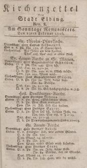 Kirchenzettel der Stadt Elbing, Nr. 8, 19 Februar 1826
