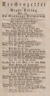 Kirchenzettel der Stadt Elbing, Nr. 12, 19 März 1826