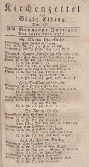 Kirchenzettel der Stadt Elbing, Nr. 17, 16 April 1826