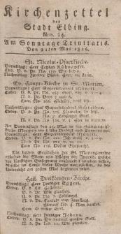 Kirchenzettel der Stadt Elbing, Nr. 24, 21 Mai 1826