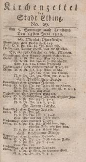 Kirchenzettel der Stadt Elbing, Nr. 29, 25 Juni 1826