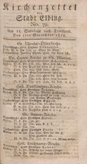 Kirchenzettel der Stadt Elbing, Nr. 39, 3 September 1826