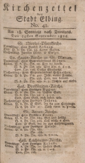 Kirchenzettel der Stadt Elbing, Nr. 42, 24 September 1826