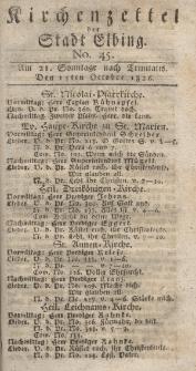 Kirchenzettel der Stadt Elbing, Nr. 45, 15 Oktober 1826