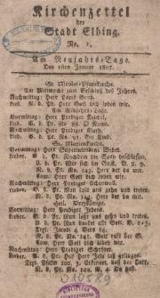 Kirchenzettel der Stadt Elbing, Nr. 1, 1 Januar 1807