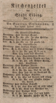 Kirchenzettel der Stadt Elbing, Nr. 5, 25 Januar 1807