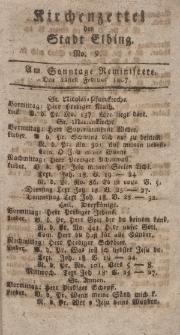 Kirchenzettel der Stadt Elbing, Nr. 9, 22 Februar 1807