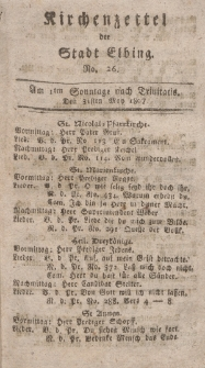Kirchenzettel der Stadt Elbing, Nr. 26, 31 Mai 1807