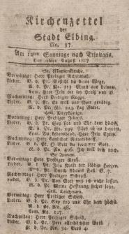 Kirchenzettel der Stadt Elbing, Nr. 37, 16 August 1807