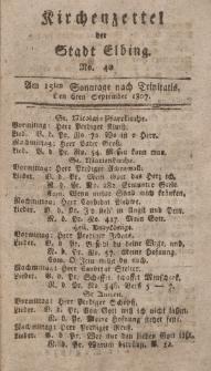 Kirchenzettel der Stadt Elbing, Nr. 40, 6 September 1807