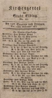Kirchenzettel der Stadt Elbing, Nr. 43, 27 September 1807