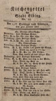 Kirchenzettel der Stadt Elbing, Nr. 44, 4 Oktober 1807