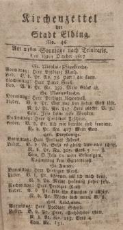 Kirchenzettel der Stadt Elbing, Nr. 46, 18 Oktober 1807