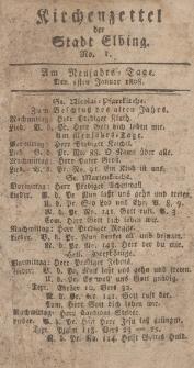 Kirchenzettel der Stadt Elbing, Nr. 1, 1 Januar 1808