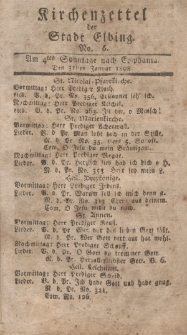 Kirchenzettel der Stadt Elbing, Nr. 6, 31 Januar 1808