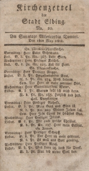 Kirchenzettel der Stadt Elbing, Nr. 20, 1 Mai 1808